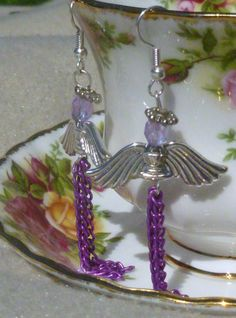 Purple and Silver Angel Earrings by MJSKDesigns on Etsy