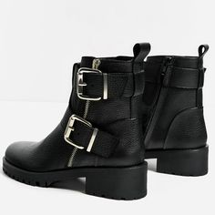 Image 3 of LEATHER ANKLE BOOTS WITH BUCKLES from Zara