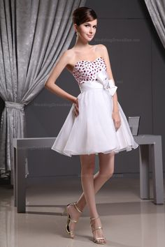 Cute Sweetheart Beading Organza Dress