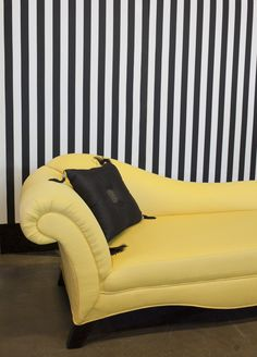 Rochelle Fainting Couch; Yellow textured fabric with black legs; Black and white divider panel