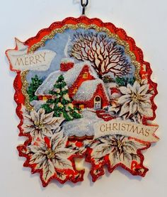 Snowy Home Scene White Poinsettias Glittered Christmas Ornament Vtg Card IMG | eBay