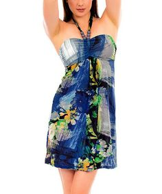 Look what I found on #zulily! Blue Floral Brush Stroke Halter Dress #zulilyfinds