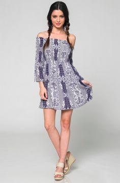 Navy Boho Print Dress