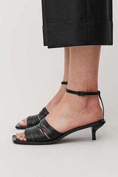 HEELED STRAPPY SANDALS - Black - Sandals - COS