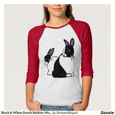 Sold! Thank you to the customer and enjoy! Black & White Dutch Rabbits Women's Raglan T-Shirt; ArtisanAbigail at Zazzle