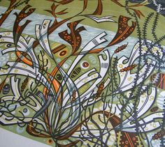 'Northern Shore' (detail) linocut by Angie Lewin http://www.angielewin.co.uk