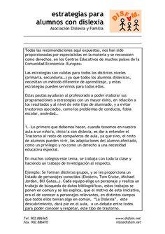 estrategias para  alumnos con dislexia  Asociación Dislexia y Familia  Todas las recomendaciones aquí expuestas, nos han sido...