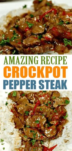 EASY CROCKPOT PEPPER STEAK RECIPE Need an easy crock pot recipe? This Crockpot Pepper Steak Recipe is delicious! Easy pepper steak recipe is simple to make. Crockpot Steak Recipes, Chuck Steak Recipes, Stew Meat Recipes, Steak Meals, Delicious Crockpot Recipes, Dinner Crockpot, Pepper Steak Recipe Easy, Crockpot Pepper Steak, Eating Clean