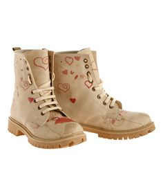 Love this Beige & Red Hearts Combat Boot by Goby on #zulily! #zulilyfinds
