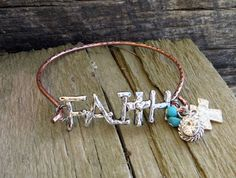 Cowgirl Bling FAITH  CROSS  Hammered Copper Charms Gypsy Boho BRACELET BANGLE #Unbranded #Bangle