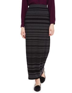 Engineered Striped Maxi Skirt | M&S The narrowness of this skirt allows you to wear more volume on top.