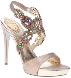 www.renecaovilla.com, Rene Caovilla, Gem Embellished Sandal, bride, bridal, wedding, wedding shoes, bridal shoes, haute couture, luxury shoes