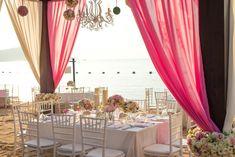 Beach Wedding Setup, Wedding Table, Diy Wedding, Wedding Ideas, Seating Chart Wedding, Seating Charts, Hot Pink Weddings, Summer Weddings, Curtain Material