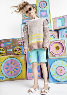 Frayed cuff shorts and candy stripe knitwear make the perfect pairing for - May 26 2019 at Teen Fashion Winter, Cute Kids Fashion, Tween Fashion, Fall Fashion Outfits, Girl Fashion, Fashion Clothes, Mens Fashion, Stella Mccartney Kids, Girl Clothing Websites