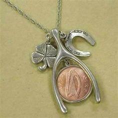 Lucky Irish Penny Silvertone Wish Bone Coin Pendant Coin Jewelry Coin Pendant, Pendant Jewelry, Coin Jewelry, Jewlery, Jewelry Crafts, Unique Jewelry, Irish Jewelry, Irish Necklaces, American Coins