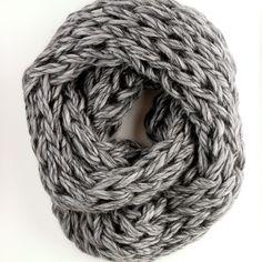 "Beautifully handmade, arm knit cowl in Rowan Drift, 100% merino wool, in heather gray. Cowl measures 12"" by 60"" loop."