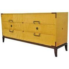Tommi Parzinger for Parzinger Originals Maple & Mahogany Inlaid Dresser or Chest