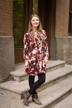 Stock up on gorgeous dresses for fall and winter! It's easy to layer with leggings, booties, and even a cardigan when the weather gets extra chilly ❄️ #xoxoAL4You #floraldress #ootd #fallfashion #trendy #shopALB Apple of My Eye Floral Dress $44 Link to order: http://form.jotform.us/form/52044697810154