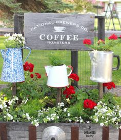 Organized Clutter: Junk Garden Coffee Pot Planters / sign made with Funky Junk's Old Sign Stencils