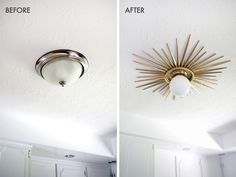 Sunburst Mirror Medallion DIY - A Beautiful Mess Need to do this! Sunburst ceiling medallion DIY (click through for tutorial) House, Home Projects, Home Decor, Home Deco, Sunburst Mirror, First Home, Home Diy, Ceiling Medallions Diy, Sunburst