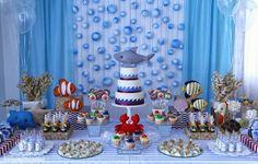 Festa tema fundo do mar - IFIT Frozen Birthday Theme, Birthday Table, Birthday Party Themes, Birthday Ideas, Tiki Party, Shark Party, Bubble Guppies Birthday, Under The Sea Party, Ariel