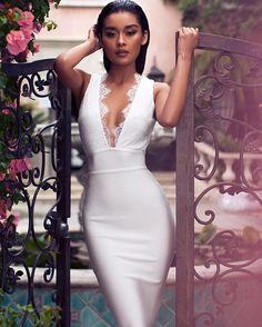 WEBSTA   houseofcb - The Ria dress in lace and bandage is so feminine.Shop 3574ba5f8