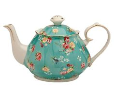 Shabby Rose Teal Teapot  4-1/2-Cup
