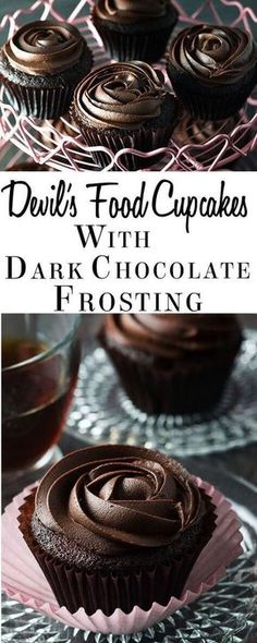 Indulge yourself with this recipe for Devil's Food Cupcakes with Dark Chocolate Frosting. Perfect for Valentine's Day or any celebration. These deep chocolate cupcakes with a dark chocolate, cream cheese topping are light yet wonderfully chocolaty. Cake Frosting Recipe, Cupcake Frosting, Cupcake Cakes, Cupcake Ideas, Cup Cakes, Cheesecake Frosting, Rose Cupcake, Buttercream Frosting, Cupcake Toppers