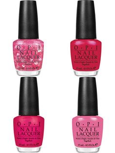 """OPI nail polish inspired by Minnie Mouse. We love """"Nothin' Mousie 'bout it"""" which is pink with heart-shaped pink glitter confetti!"""