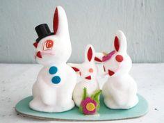 Flocked Bunny Rabbit Family Easter Novelty by xmaspastnpresents
