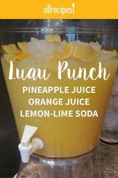Luau Punch This slushy fruit punch has been used for years by my family at birthday parties summer gatherings and now my children ask for it at breakfast it is our favor. Fruit Drinks, Non Alcoholic Drinks, Cocktail Drinks, Luau Drinks, Mexican Drinks, Hawaiian Party Drinks, Tropical Party Foods, Brunch Punch Non Alcoholic, Cold Drinks