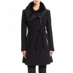 Diane Von Furstenberg Toscana Lamb Fur-Collared Coat ($749) ❤ liked on Polyvore featuring outerwear, coats, black, black fur collar coat, diane von furstenberg, fur collar coat, black coat and diane von furstenberg coat