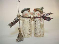 Paper Mache Folk Art Whimsical Snowman Couple