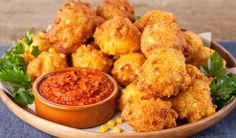 Crispy Corn Fritters with Roasted Red Pepper Pesto