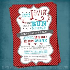 Items similar to First Came the Lovin. Bun in the Oven Baby Shower Invite by Tipsy Graphics. Any colors on Etsy Baby Shower Gender Reveal, Baby Boy Shower, Baby Showers, Retro Party Themes, Baby Shower Announcement, Bun In The Oven, Getting Ready For Baby, Engagement Party Invitations, Party Signs