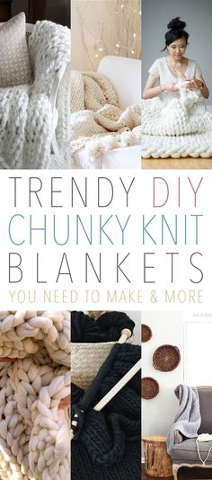 Trendy DIY Chunky Knit Blankets You Need To Make & More Do you love the look of cozy knit blankets? These 8 DIY chunky knit blanket tutorials are must-trys! Check out the Esty shops and supply lists included! Finger Knitting, Arm Knitting, Knitting Ideas, Chunky Knitting Patterns, Crochet Motifs, Knit Crochet, Chunky Crochet, Crochet Patterns, Chunky Knits