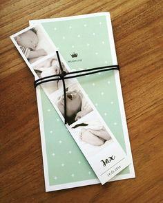 Geboortekaartje Jax . Fotostrip/mintgroen/kruisjes