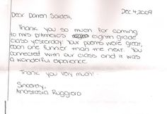 An inspirational letter from an 8th grader - Thank you!!!