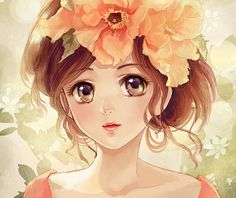 Pretty manga style girl with flowers