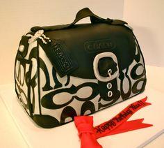 Black and Silver Coach Purse Cake