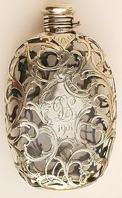 Antique silver overlay flask is like one if many that Mom and I had collected over years of searching yard sales and estate sales. We had Flasks, Vases, Liquor Bottles, etc. Vintage Love, Vintage Silver, Antique Silver, Antique Perfume Bottles, Vintage Perfume, Tarnished Silver, Sterling Silver, Art Nouveau, Fru Fru