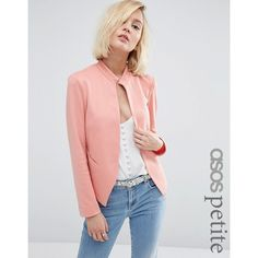 ASOS PETITE Edge to Edge Ponte Blazer with Pocket ($43) ❤ liked on Polyvore featuring outerwear, jackets, blazers, petite, pink, pink blazer, open front blazer, petite jackets, ponte blazer and blazer jacket