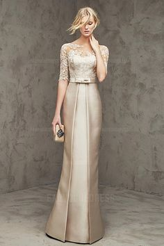 Trumpet/Mermaid Bateau Floor-length Satin Lace Evening Dress