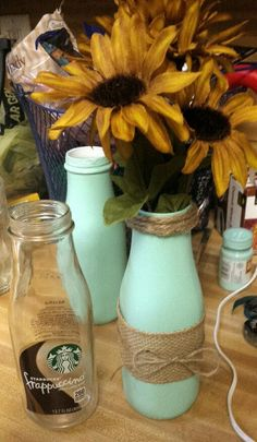 Recycled Starbucks Frappuccino Bottle ~ Burlap Vase #winebottlecrafts