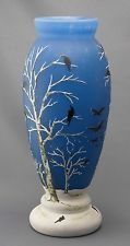 Daum Nancy French Art Nouveau Cameo Art Glass Vase Depicting A Winter Scene With Birds And Trees - Signed