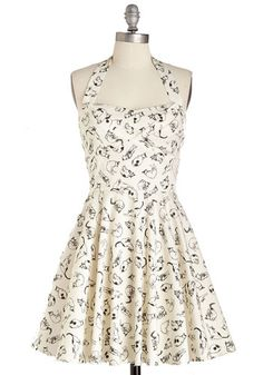 Traveling Cupcake Truck Dress in Cats - White, Black, Print with Animals, Casual, Cats, Fit & Flare, Halter, Variation, Print, Pinup, 50s, 60s, Mid-length