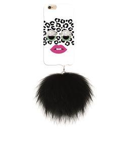 IPHORIA COLLECTION Monster au Portable White Leo mit schwarzem Raccoon Pom Pom für iPhone 6/6s 1