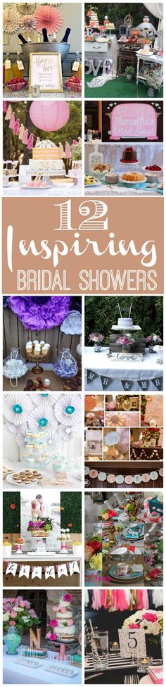 12 inspiring bridal showers including lots of shabby chic and rustic details for dessert tables, decorations, party favors, drinks, party food, and more.
