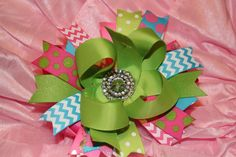 Pink Turquoise and Lime Green Boutique Stacked by BellaKumariBows, $13.00