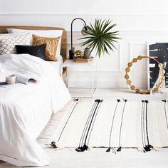 black and white fringe rug
